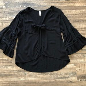 xhilaration black bell sleeve tie front top